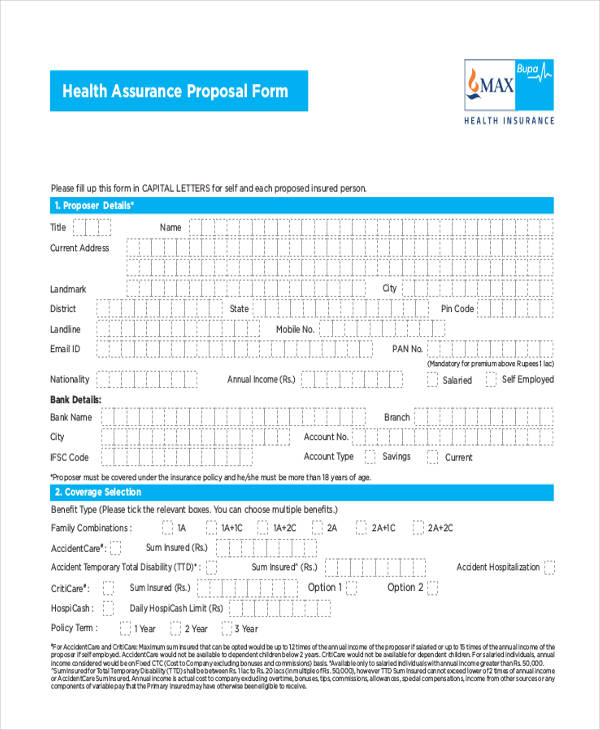 health assurance proposal form