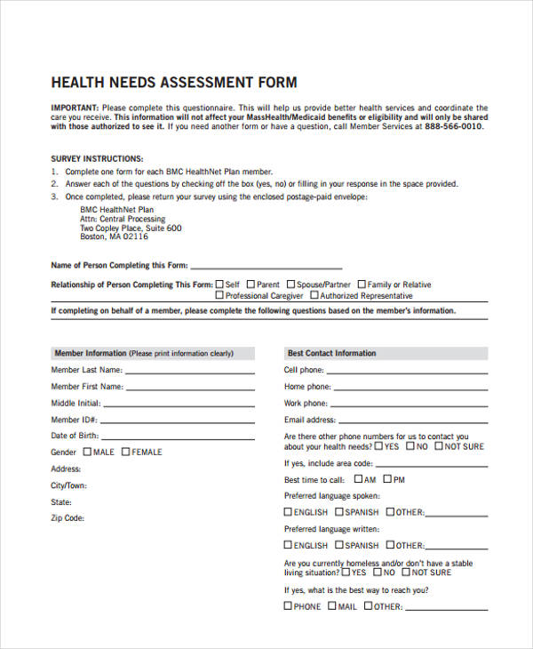 health care needs assessment form