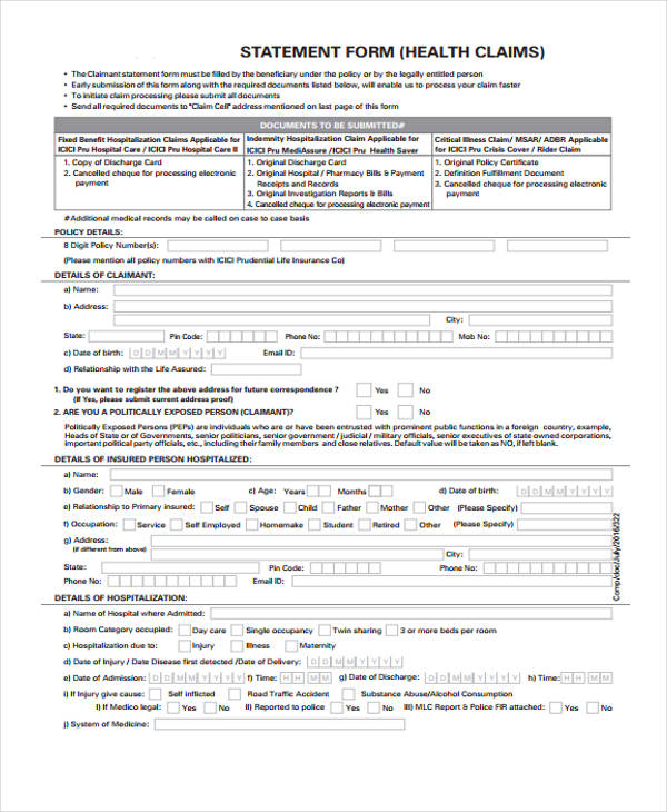 health claim statement form