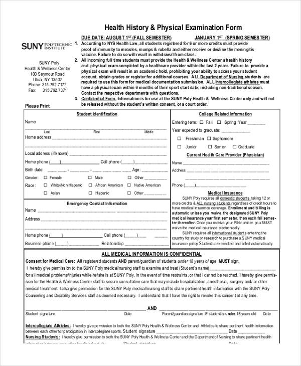Sample Health Assessment Form