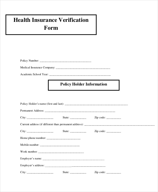 health insurance verification tax form
