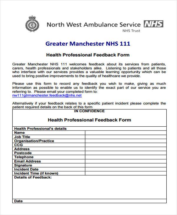 health professional feedback