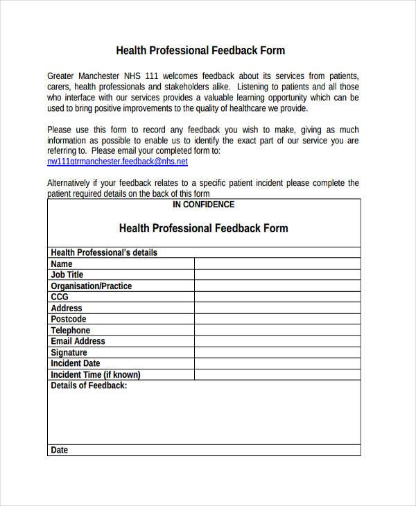 health professional form