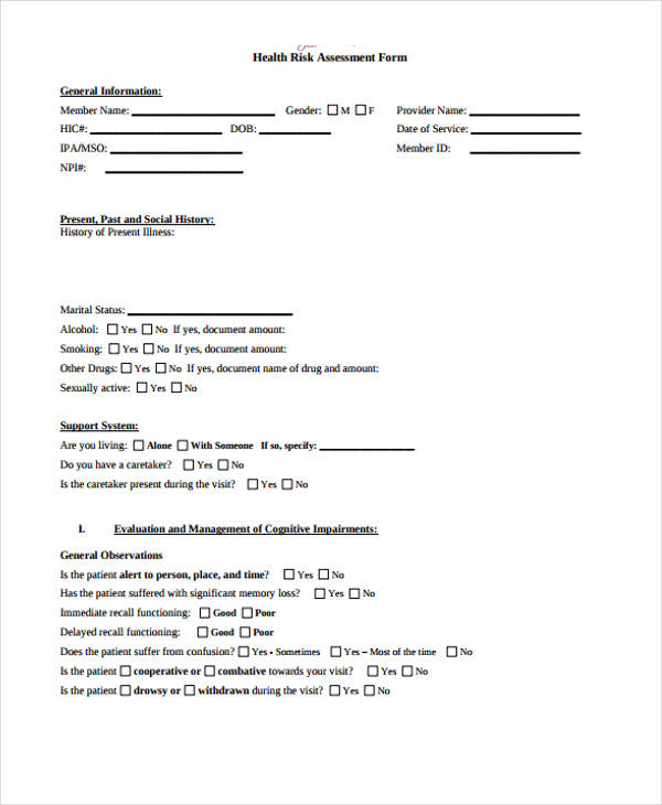 health risk assessment questionnaire form