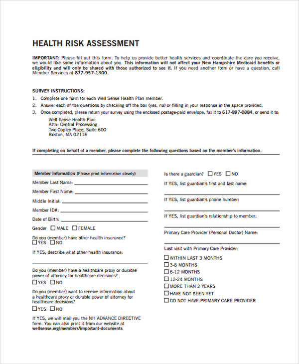 health risk assessment survey form