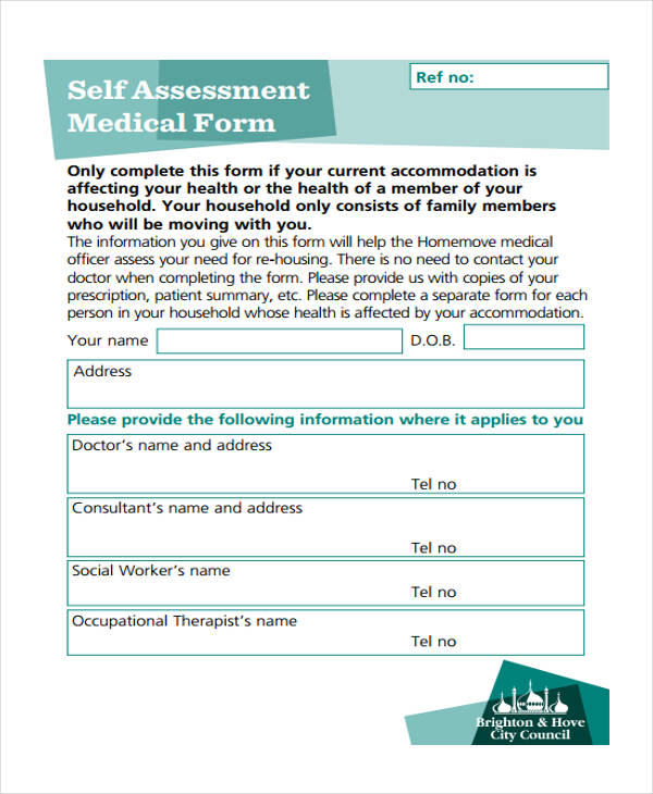health self assessment medical form