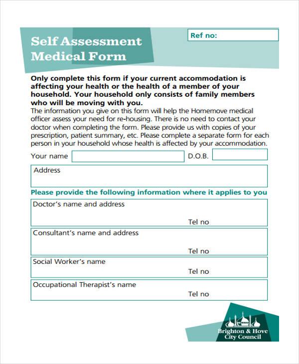 Health Self Assessment Medical Form