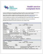 health service complaint form sample