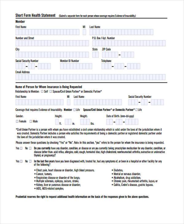 health statement short form pdf