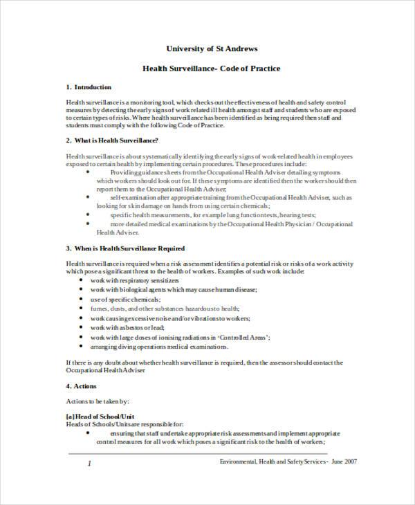 health surveillance risk assessment form