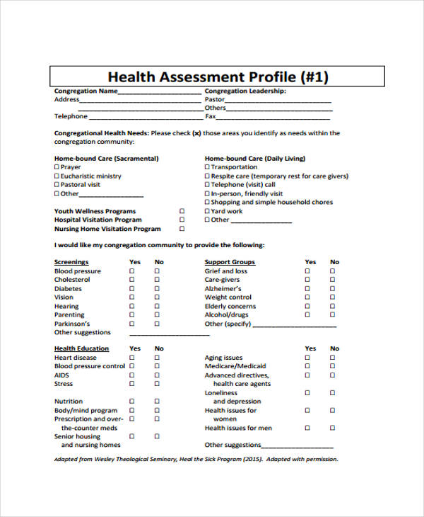 health and training needs assessment form