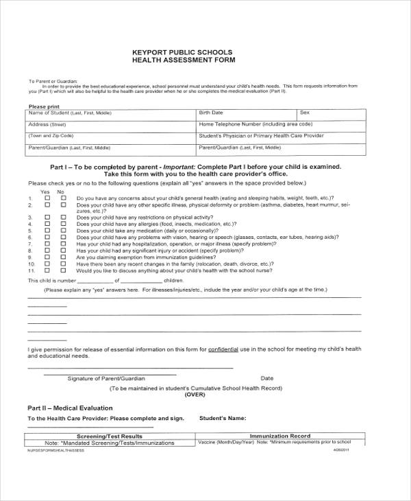 high school health assessment form