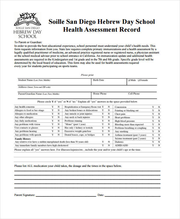 high school health assessment record form