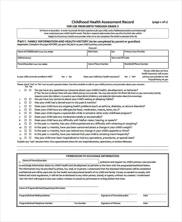 high school health assessment record form1