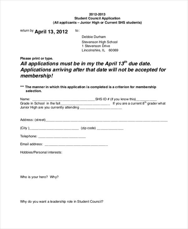 high school student council application form