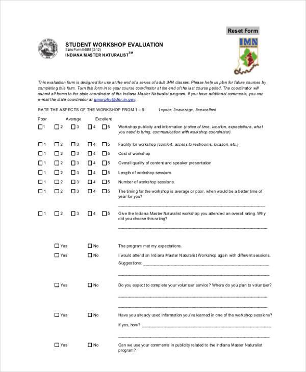 high student workshop evaluation