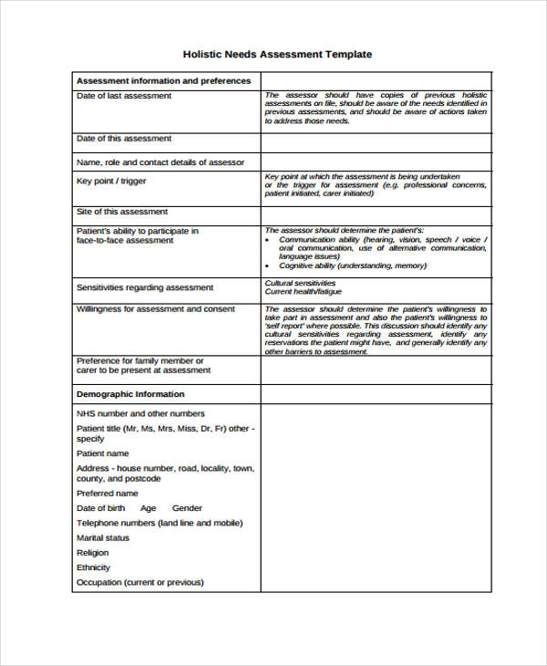 holistic nursing assessment form