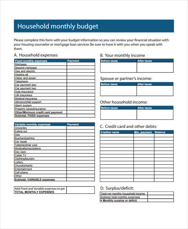 free 9  home budget form in sample  example  format