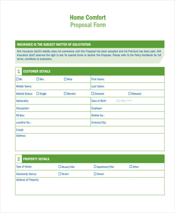 home comfort proposal form