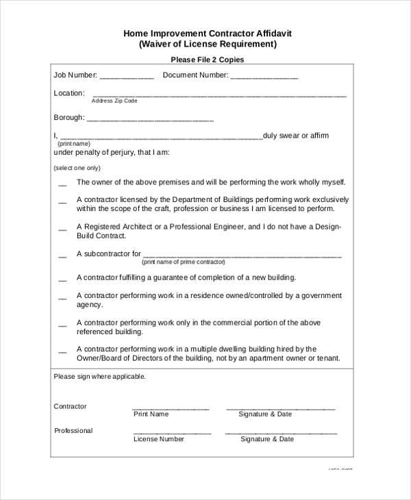 home contractor affidavit form format