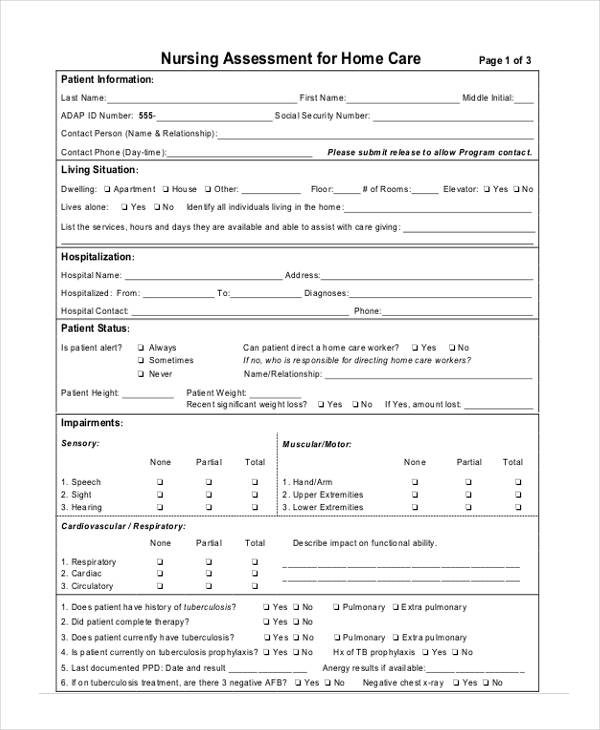Delightful Home Health Care Nursing Assessment Form