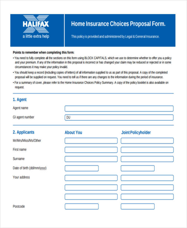 home insurance choices proposal form3