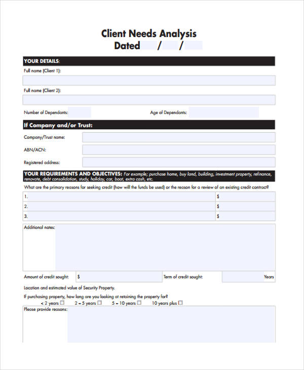 home loan client needs analysis form