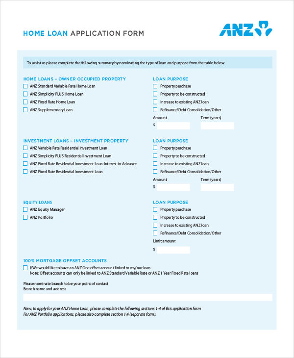 home loan proposal form
