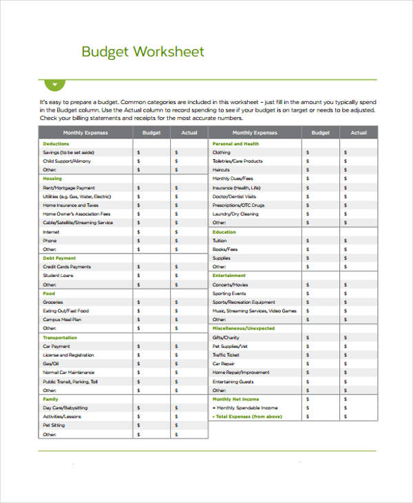 Home Budget Form Sample  Free Sample Example Format Download