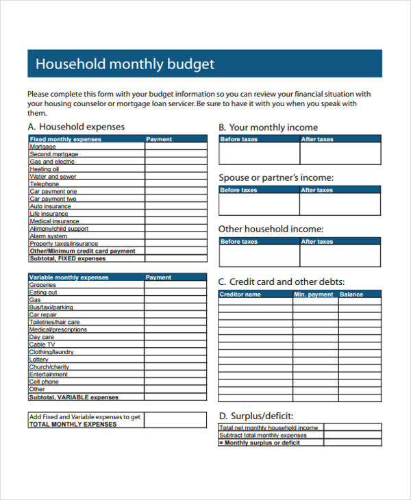 Home Budget Form Sample   Free Documents In Word Pdf