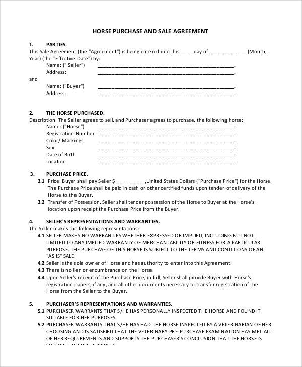 Horse Purchase Sales Agreement Form1