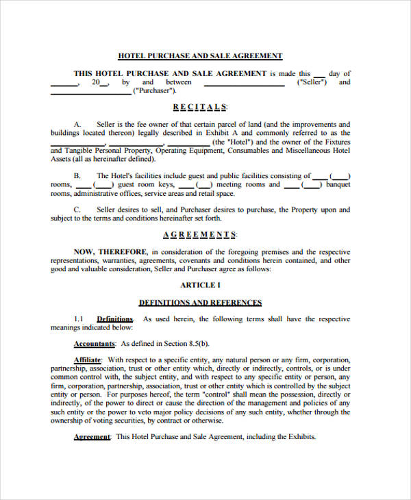 hotel business sales agreement form