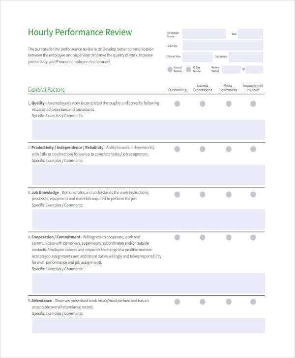 19+ Sample Employee Review Forms