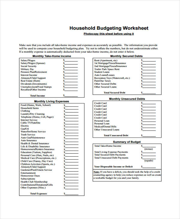 Home Budget Form Sample 6 Free Documents in Word PDF – Household Budget Worksheet