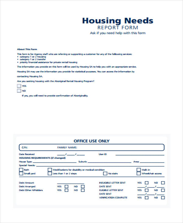 housing agency needs assessment form