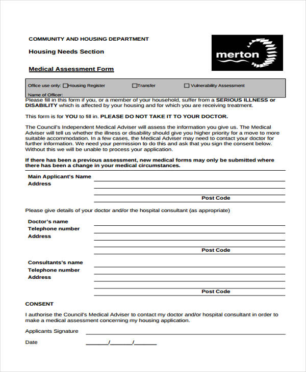 housing needs medical assessment form