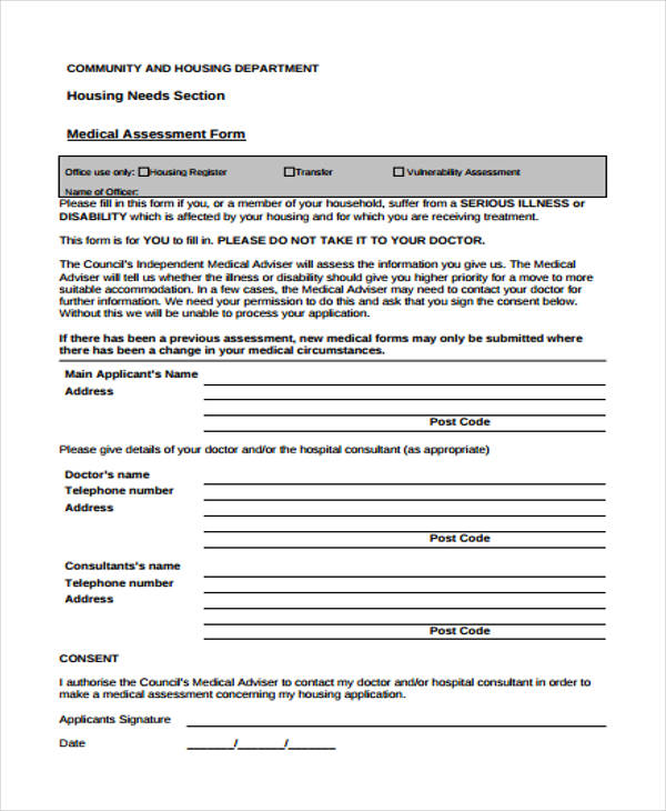housing needs medical assessment form1