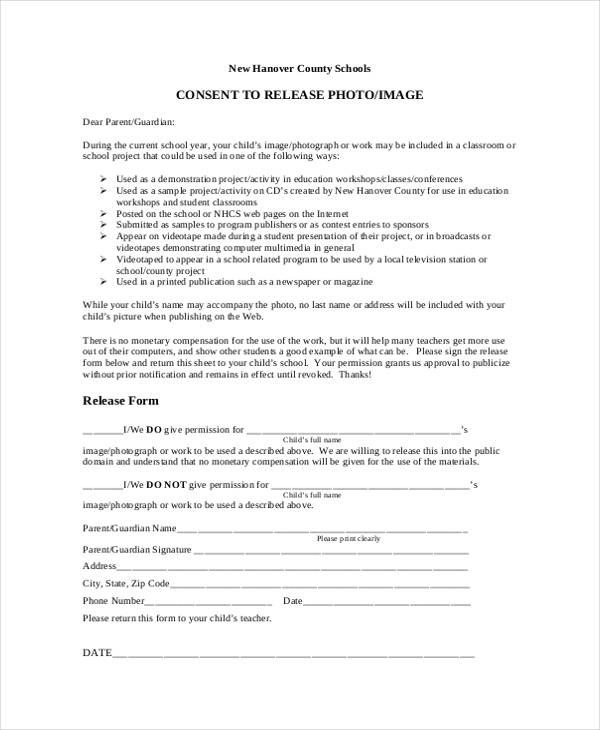 image consent and release form