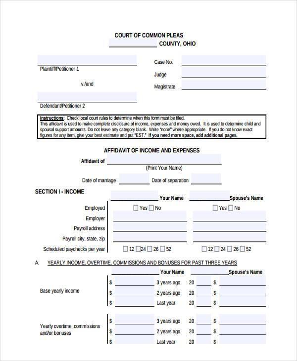 income and expense affidavit