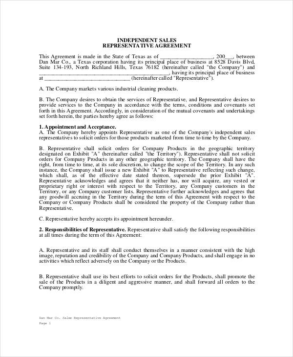32 sales agreement form template for Independent sales rep contract template