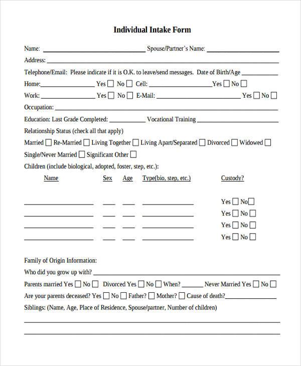 individual counseling intake form