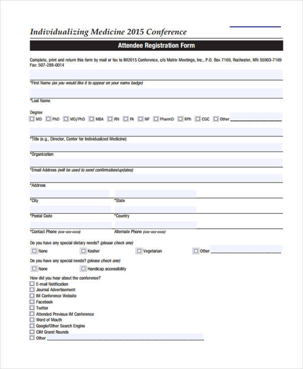 individualised medicine conference registration form