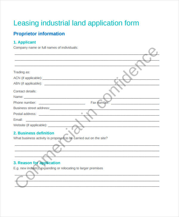 industrial land lease application form