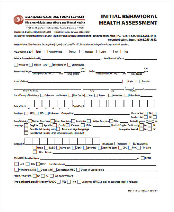 initial behavioral health assessment form