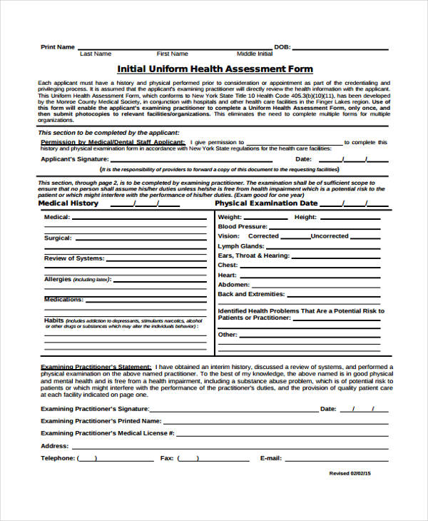 initial uniform health assessment form