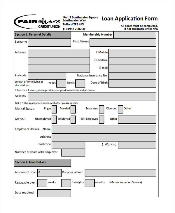 insurance loan proposal form