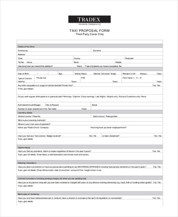 Insurance Proposal Form Example