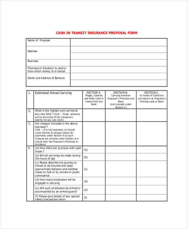 insurance of money transit proposal form