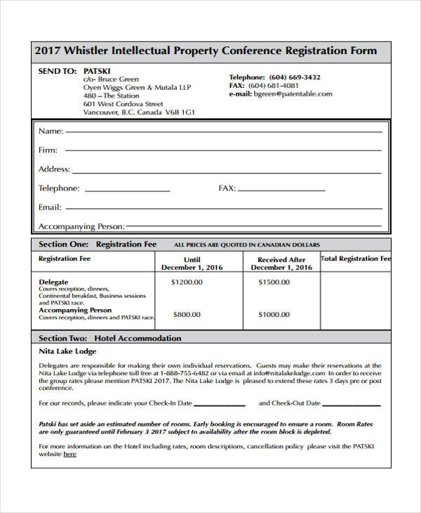 intellectual property conference registration form