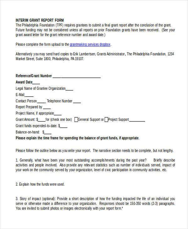 interim grant expense report form